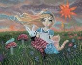 Alice in Wonderland Fantasy Fairytale Fine Art Giclee Print 12 x 16