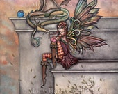 The Enchanted- Original Fairy Dragon Fantasy Art Painting by Molly Harrison