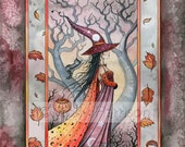 Wiccan Autumn Witch Fine Art Print by Molly Harrison 'Mystic Witch' 5 x 7 Giclee