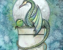 Dragon Print - Green Dragon by Molly Harrison Fantasy Art Giclee Print - Dragons, Artwork, Illustration, Mystical