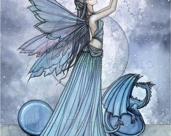 Fairy Dragon Fine Art Print 11 x 17 'Shades of Blue'