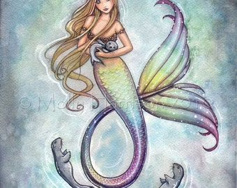 Mermaid and Baby Seals Fine Art Print 11 x 17 - Mermaids, Fantasy, Illustration, Cute Mermaid, Watercolor, Illustration