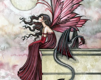 Fairy Dragon Fine Art Print 12 x 16 'Restless Ruby'