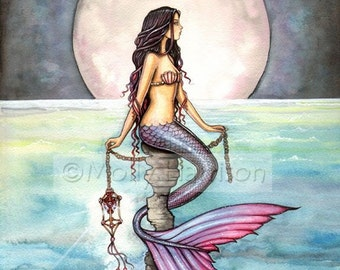 Mermaid Art Fantasy Print by Molly Harrison 12 x 16 'Enchanted Sea'