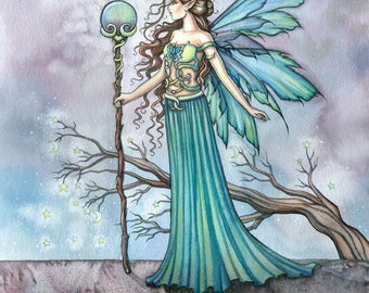 Original Fairy Art - Fantasy Fine Art Print by Molly Harrison 12 x 16  'Mystic Tree' - Fairies, Faery, Illustration, Watercolor Painting