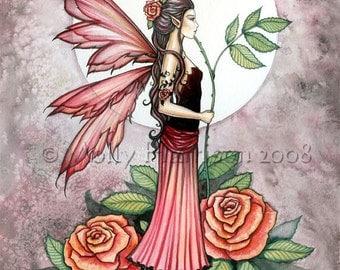 Original Fairy Fine Art Fantasy Print by Molly Harrison 12 x 16  'Rose of Fire'