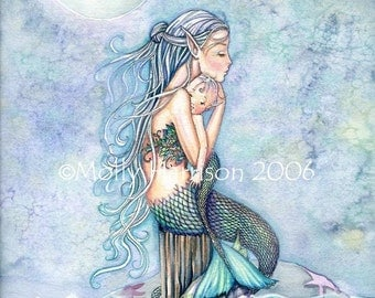 Mermaid Mother and Baby Limited Edition Fine Art Print 11 x 15  'Still Waters'  Fantasy Watercolor by Molly Harrison