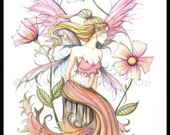 Fairy Fantasy Fine Art Giclee Print 9 x 12  by Molly Harrison 'Pink'