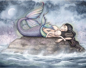 Mermaid Print - Sweet Moment of Bliss - Mother and Baby Mermaids 5 x 7 - Nursery Art