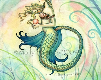 Mermaid Fantasy Watercolor Fine Art Print by Molly Harrison 'Pink Pearl' 9 x 12 Giclee - Beautiful Mermaid, Mermaids, Fantasy Artwork