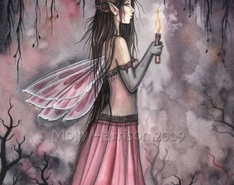 Candle Fairy Fantasy Fine Art Print by Molly Harrison 'Passage to the Unknown' 9 x 12 Giclee