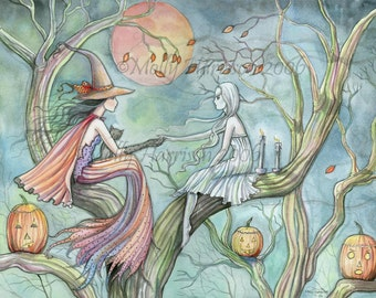 Witch Ghost Autumn Fine Art Print by Molly Harrison 'Timeless Connections' 9 x 12 Giclee