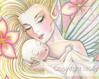 Flower Fairy Mother and Infant Fantasy Fine Art Print by Molly Harrison 'I'll Forever Love You'  9 x 12 Giclee - Nursery Art