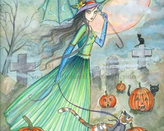Witch Tabby Cats Autumn Fine Art Print by Molly Harrison 'Passing Through' 5 x 7 Giclee