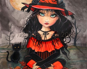 "Witch Black Cat Autumn Fine Art Giclee Print by Molly Harrison 'When's Halloween"" 9 x 12 Giclee"