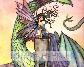Fairy Dragon Fine Art Print by Molly Harrison 'A Distant Place' Giclee Print - Fairies, Dragons, Fantasy Artwork, Illustration, Watercolor