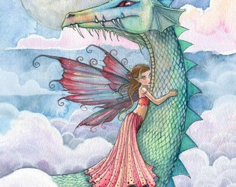 Fairy Dragon Fine Art Print by Molly Harrison 'Cloud Busting' Giclee Print
