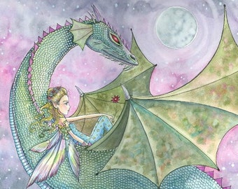 Fairy Dragon Fine Art Print by Molly Harrison 'The Fantastic Journey' Giclee Print