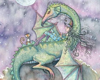 Witch and Dragon Fine Art Print by Molly Harrison 'Moon Gazing' Giclee Print