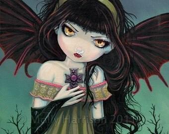 Gothic Vampire Fairy Fantasy Fine Art Print  by Molly Harrison 11 x 14 'Twilight Wandering'