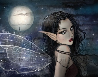 Fairy Gothic Fantasy Fine Art Watercolor Giclee Print 9 x 12  by Molly Harrison 'The Witching Hour""