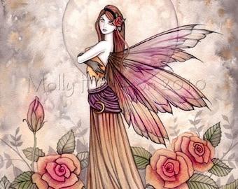 Original Fairy Fine Art Fantasy Print by Molly Harrison 12 x 16  'Sienna Rose' in Pink
