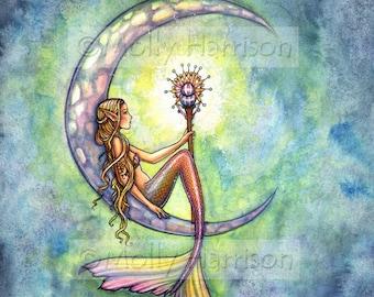 Mermaid  Fantasy Fine Art Print by Molly Harrison 8 x 10  'Mermaid Moon'