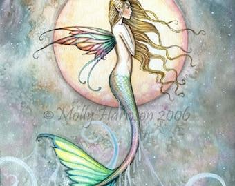 First Taste of Sky Mermaid Fine Art Print by Molly Harrison 9 x 12 - Mermaids, Artwork, Moon, Fantasy Illustration, Beautiful Mermaid