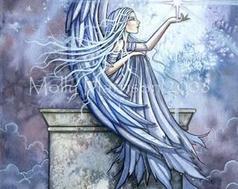Angel Original Fantasy Fine Art Giclee PRINT by Molly Harrison Fantasy Art - 9 x 12 - Angels, Spiritual