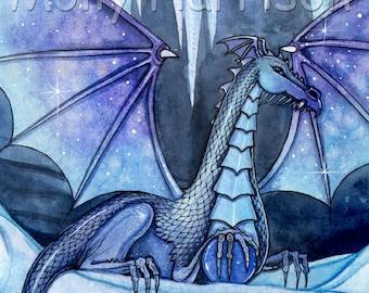 Dragon Fine Art Giclee Print 'Ice Dragon' Watercolor Print by Molly Harrison - Blue Purple, Dragons, Archival, Artwork, Illistration