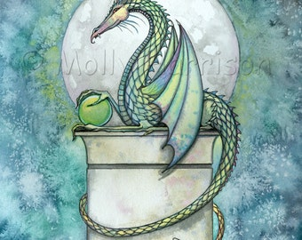 Dragon Print - Green Dragon by Molly Harrison Fantasy Art Giclee Print 12 x 16