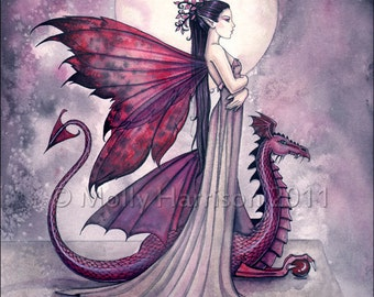 Crimson Twilight Dragon Fairy and Dragon Watercolor Giclee Print by Molly Harrison