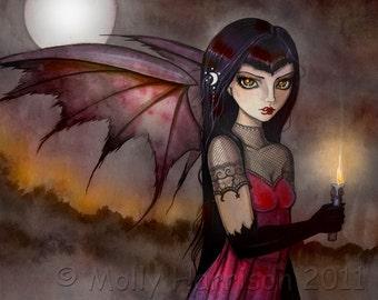 Gothic Vampire Fairy Fantasy Fine Art Print  by Molly Harrison 5 x 7  'Strolling Victoria 2'
