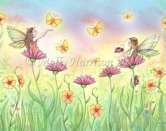 Fairy Fantasy Fine Art Giclee Print by Molly Harrison 'Sisters' 12 x 16