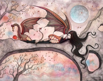 Winds of Autumn Fairy and Dragon Watercolor Giclee Print by Molly Harrison 10 x 8