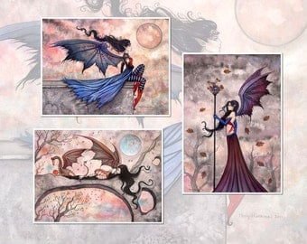 Autumn Fairy Vampire Print Set of 3 - 5 x 7 Size by Molly Harrison