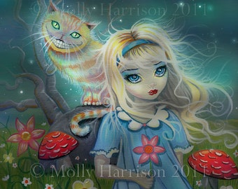 Alice in Wonderland Giclee Print Fairytale Art by Molly Harrison 12 x 12