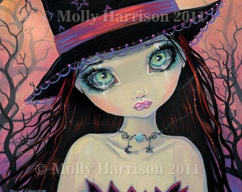 Bright Eyed Witch Big Eye Witch Fine Art Giclee Print by Molly Harrison 8 x 8