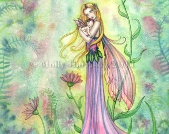 No Greater Gift - Fairy Mother and Baby Fine Art Giclee Print by Molly Harrison 8 x 10