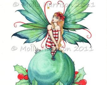 Little Christmas Fairy - Fine Art Giclee PRINT by Molly Harrison 8 x 10
