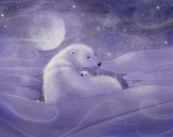 Gentle Winter - Polar Bear and Cub Fine Art Giclee Print by Molly Harrison 5 x 7