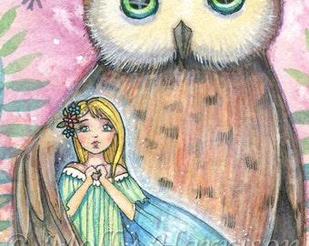 Owl Print with Little Fairy - Archival Fantasy Art Print