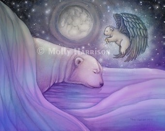 Polar Bear Print - Polar Bear and Angel Cub with Star Fine Art Giclee Print by Molly Harrison 12 x 16