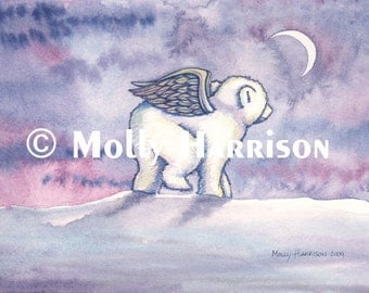 Polar Bear Print - Polar Bear Angel Cub Fine Art Giclee Print by Molly Harrison 12 x 16
