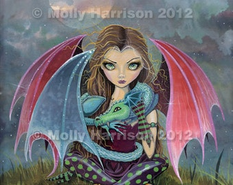 Gothic Vampire Fairy and Dragon Fine Art Giclee Print by Molly Harrison 8 x 10