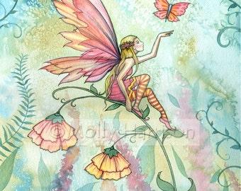 Fantasy Flower Fairy Fine Art Print by Molly Harrison 'Free' 5 x 7 Original Print