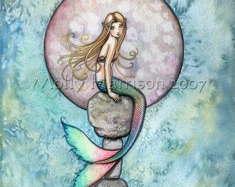 Mermaid Fairy Art Print by Molly Harrison 'Sinking Moon' Gorgeous Giclee Print 8 x 10