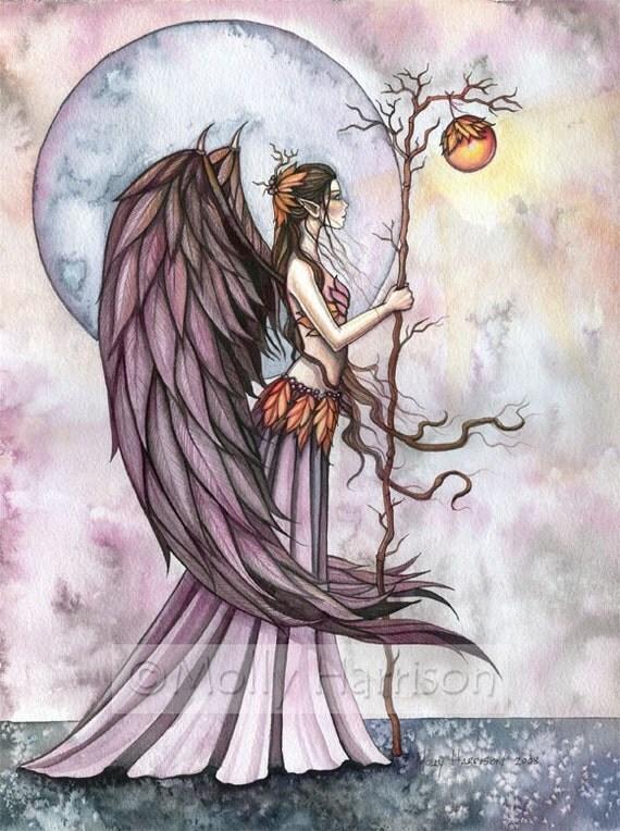 Original Fairy Fine Art Fantasy Print by Molly Harrison 12 x 16  'Autunm Light'