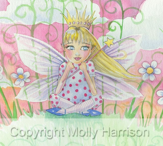 Fairy Princess Fantasy Fine Art Print by Molly Harrison 'One Day I'm Gonna Be a Fairy Princess' 9 x 12 Giclee