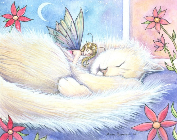 Fairy and Cat Fine Art Print by Molly Harrison 8 x 10  'Mr. Twinkle'